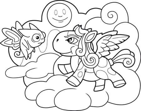 little cute cartoon pony pegasus coloring book funny illustration