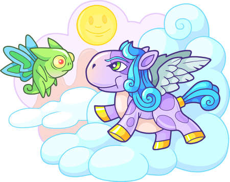 little cute cartoon pony pegasus funny illustration Banco de Imagens - 122269534