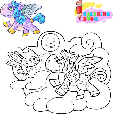 little cute cartoon pony pegasus funny illustration Banco de Imagens - 122269538