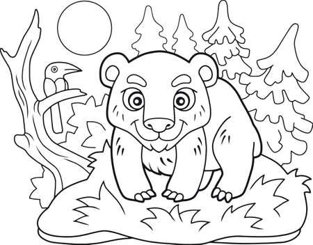 cartoon cute little bear coloring book Иллюстрация