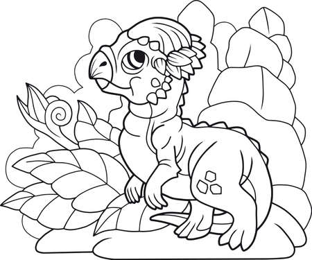 cute cartoon little dinosaur pachycephalosaurus coloring book, funny illustration