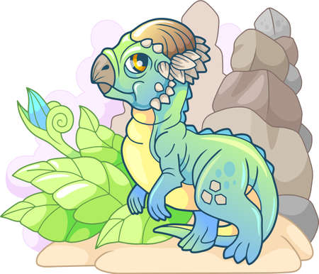 cute cartoon little dinosaur pachycephalosaurus, prehistoric animal, funny illustration Banco de Imagens - 122269545