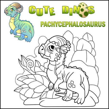 cute cartoon little dinosaur pachycephalosaurus, prehistoric animal, funny illustration