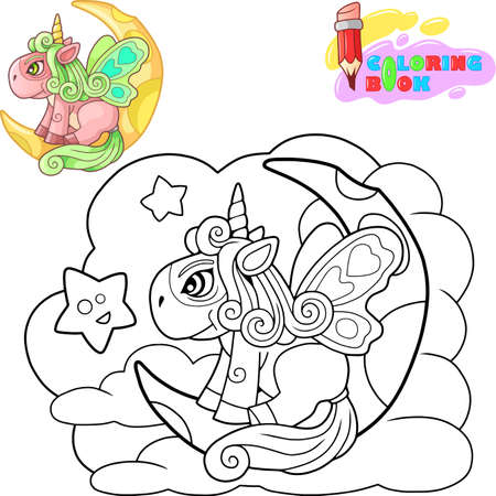 little cartoon pony unicorn sitting on the moon, funny illustration