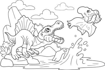 cartoon cute prehistoric dinosaurs, coloring book, funny illustration Banco de Imagens - 122269557