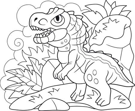 cartoon cute prehistoric dinosaur Allosaurus coloring book, funny illustration Иллюстрация