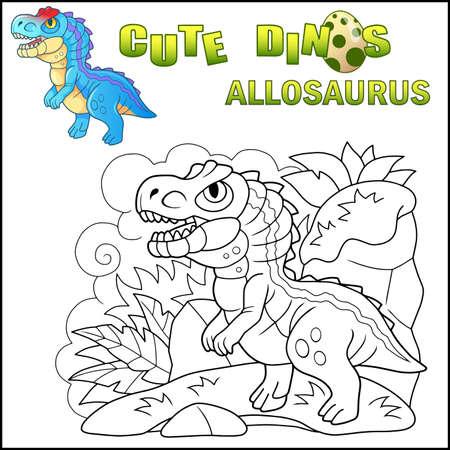 cartoon cute prehistoric dinosaur Allosaurus, funny illustration Banco de Imagens - 122269586