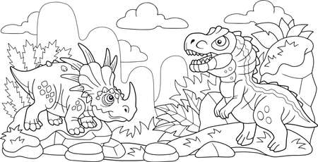 cartoon cute prehistoric dinosaurs, coloring book, funny illustration