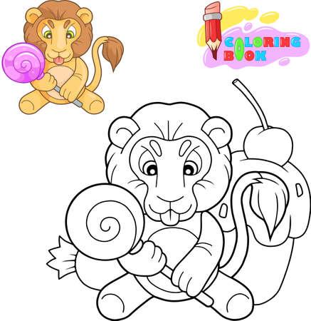 cartoon little cute lion coloring book funny illustration
