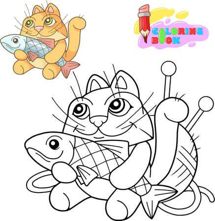 cartoon cute little cat coloring book funny illustration Banco de Imagens - 122269595