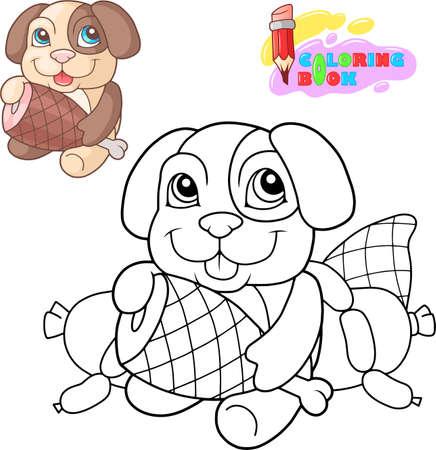 cartoon cute little dog, coloring book, funny illustration Иллюстрация
