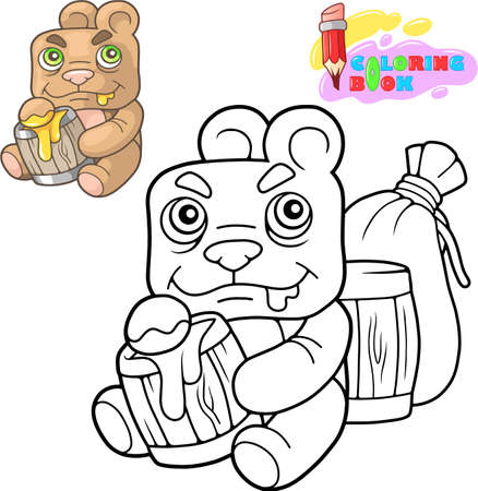 cartoon cute teddy bear eats honey coloring book