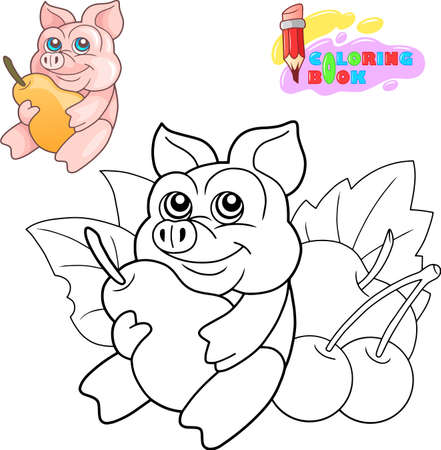 cartoon cute little piglet coloring book funny illustration