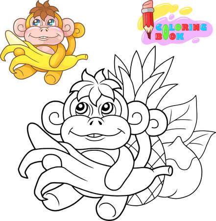 cartoon cute little monkey coloring book funny illustration Иллюстрация