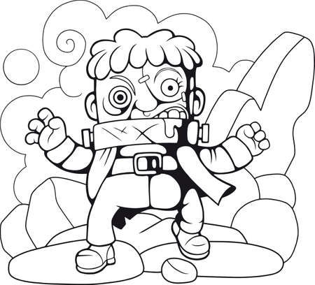 cute cartoon monster, coloring book, funny illustration