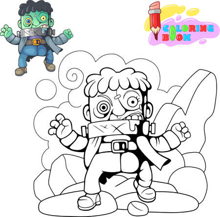 cartoon, scary, monster, funny cute illustration Banco de Imagens - 122269604