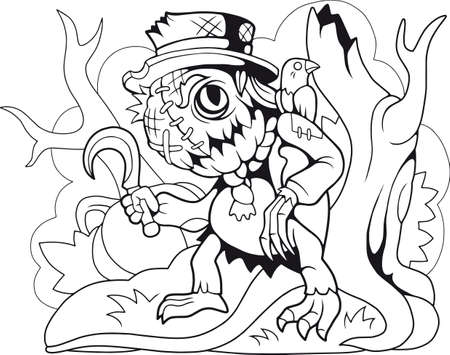 cartoon cute monster scarecrow coloring book funny illustration