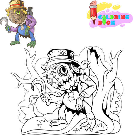 cartoon cute monster scarecrow halloween design funny illustration Иллюстрация