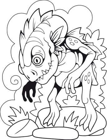 cartoon cute lake monster, coloring book, funny illustration Иллюстрация