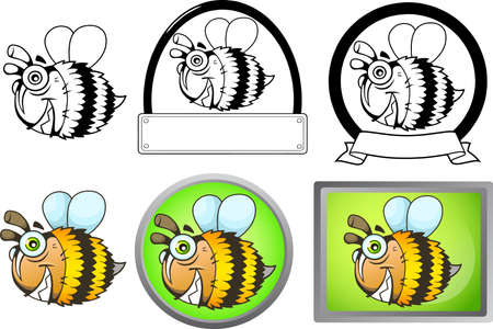 cute funny cartoon bee flying funny illustration set of images Banco de Imagens - 122269627
