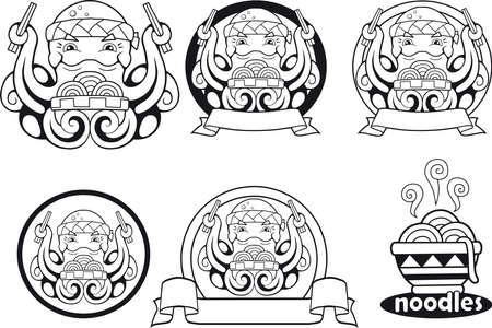 cartoon cute octopus noodle funny illustration logo