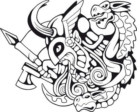 legendary scandinavian warrior, monochrome illustration for design. Ilustracja