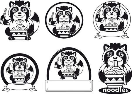 little cute tanuki eats noodles ramen, logo design illustration