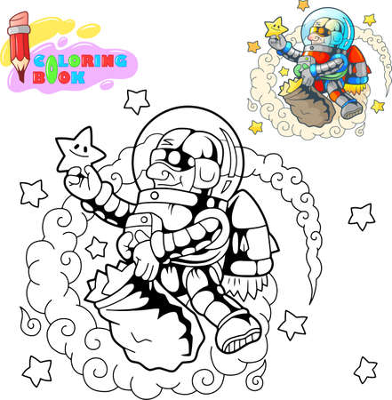 cartoon astronaut collects stars in space, coloring book, funny illustration Banco de Imagens - 122269640