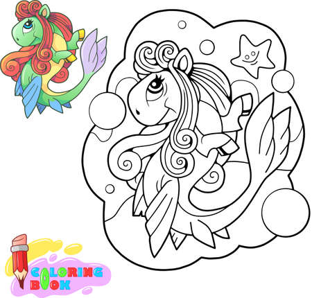 Cartoon cute pony mermaid, funny illustration design Banco de Imagens - 127460475
