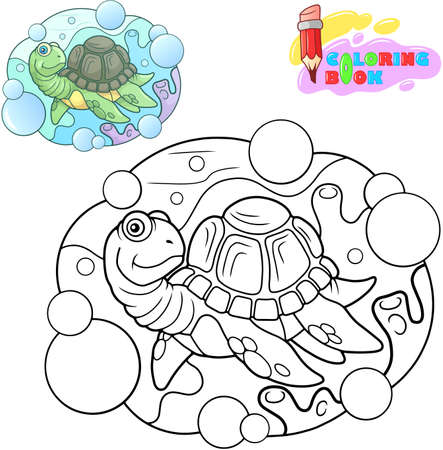 Cute cartoon sea turtle, coloring book, funny illustration Banco de Imagens - 127460476