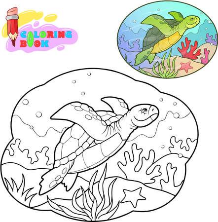 Cute cartoon sea turtle, coloring book, funny illustration