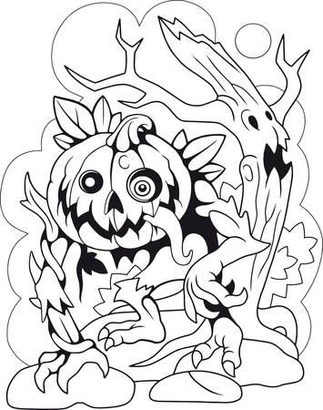 cartoon, jack lantern, coloring book, funny illustration Banco de Imagens - 127460478