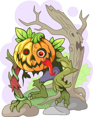 cartoon, jack lantern, halloween design, funny illustration