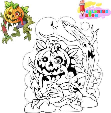 cartoon, jack lantern, halloween design, funny illustration Banco de Imagens - 127460481