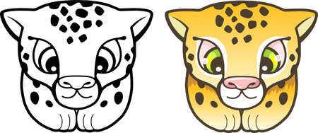 cartoon cute cheetah, funny illustration, coloring book Иллюстрация