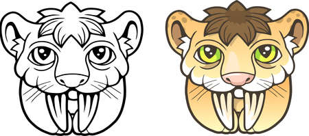 cartoon cute saber toothed tiger, funny picture, coloring book