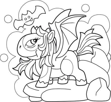 cartoon cute pony dragon, coloring book, funny illustration