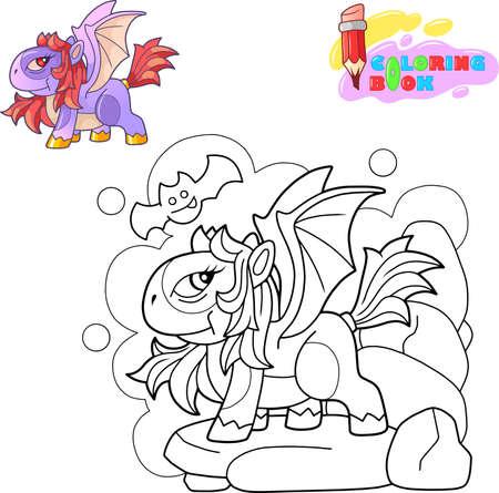 cartoon cute dragon pony, funny illustration, design