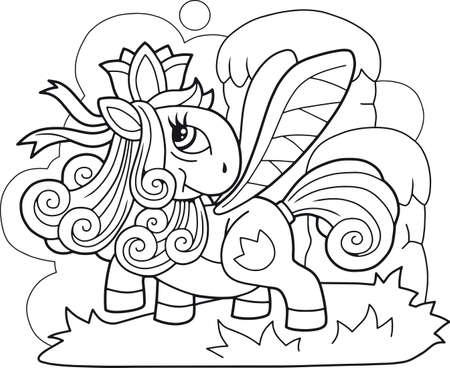 cartoon cute little pony princess funny illustration Иллюстрация