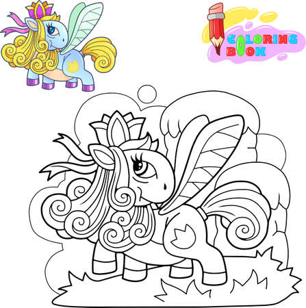 cartoon cute little pony princess funny illustration Ilustrace