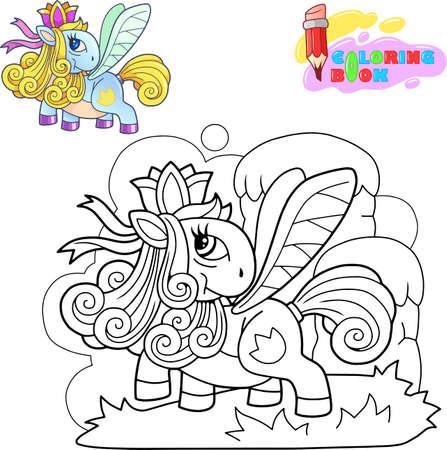 cartoon cute little pony princess funny illustration Illustration