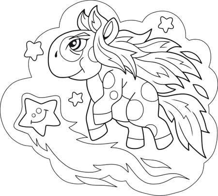 cartoon cute pony flies among the stars coloring book