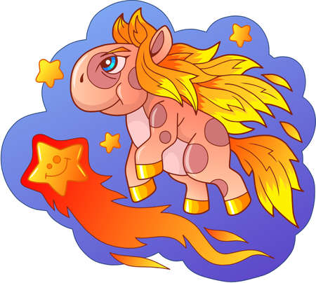 cartoon little cute pony flying among the stars Banco de Imagens - 127675417