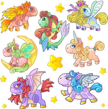 cartoon cute little pony set of funny images Banco de Imagens - 127675484