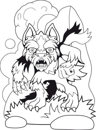 cartoon scary werewolf, coloring book, funny illustration