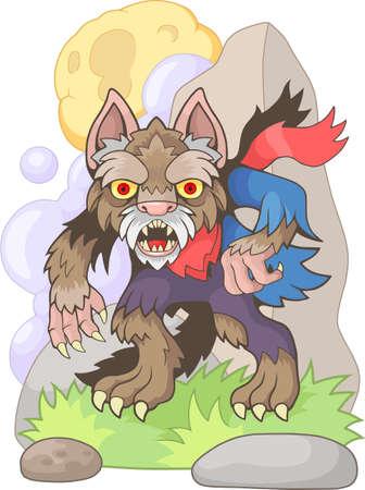 scary werewolf cartoon funny design illustration Иллюстрация