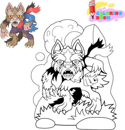 scary werewolf cartoon funny design illustration 向量圖像