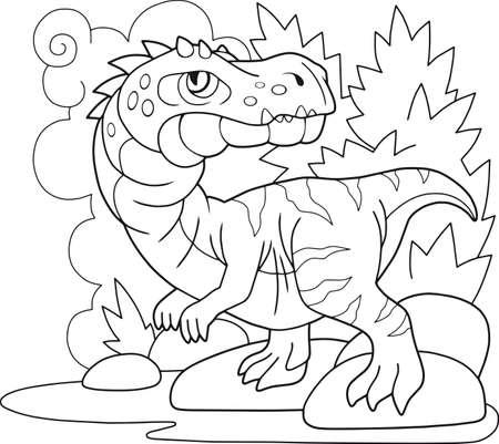 cartoon prehistoric dinosaur baryonyx, coloring book, funny illustration Banco de Imagens - 127460574