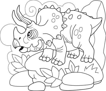 cartoon prehistoric dinosaur Triceratops, coloring book, funny illustration Иллюстрация