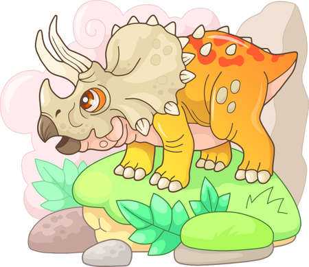 cartoon cute prehistoric dinosaur Triceratops, funny illustration Banco de Imagens - 127460578